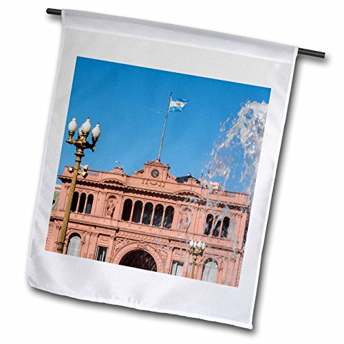 3dRose Danita Delimont - Architecture - Fountain in Plaza de Mayo with Casa Rosada, Buenos Aires, Argentina - 12 x 18 inch Garden Flag - Center Town Plaza