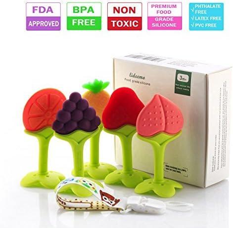 Baby Infant Teether Teething Toy Food Grade Silicone Fruit Shape Feeder Toys UK