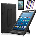 Mignova case for The Amazon Fire HD 8 Tablet (7th and 8th Generation, Released 2017/2018) - Heavy Duty Hybrid case with Built-in Kickstand+ Screen Protector and Stylus(Black/Black)
