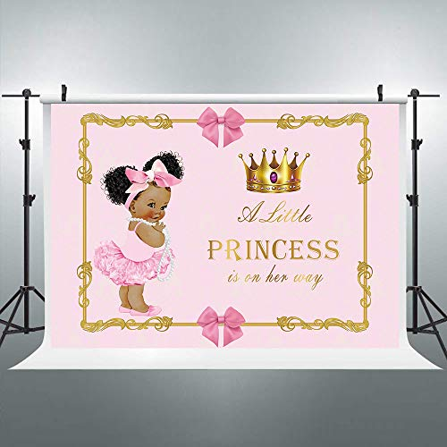 Riyidecor Gold Crown Royal Princess Backdrop Pink Bow Girls Africa Kids Photography Background 7x5ft Baby Shower Birthday Geometrical Decoration Newborn Props Party Photo Shoot Blush Vinyl Cloth -