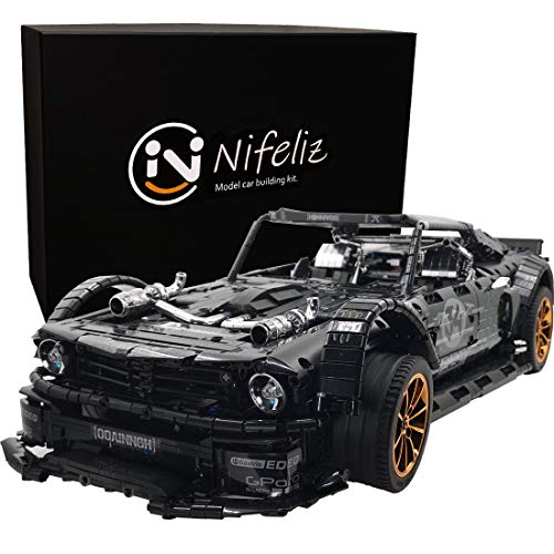 Nifeliz Black Sports Car 845-HP MOC Building Blocks and Engineering Toy, Adult Collectible Model Cars Kits to Build, 1:8 Scale Racer Model (3168 Pieces)