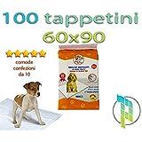Palucart® tappetini igenici per cane assorbenti pipì 60x90 super convenienti traversine x cani 100 pezzi animali domestici con adesivo anche per gatti anti odore
