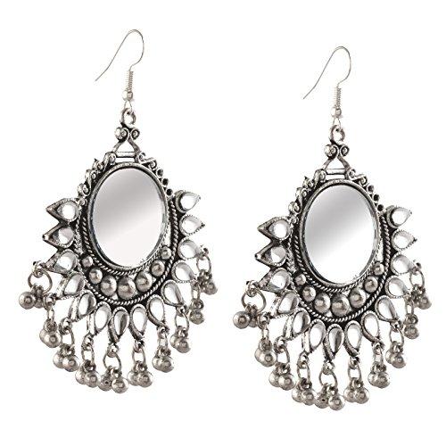 Zephyrr Fashion German Silver Afghani Dangler Hook Chandbali Earrings Mirrors For Girls and Women