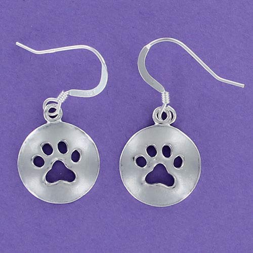 Paw Print Cutout Round Earrings 925 Sterling Silver Pet Dog Cat Dangle Wires - Jewelry Accessories Key Chain Bracelets Crafting Bracelet Necklace Pendants]()