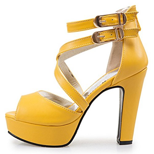 COOLCEPT Women Fashion Ankle Strap Sandals Peep Toe Block Heel Shoes With Zip Yellow 8o7LVyh