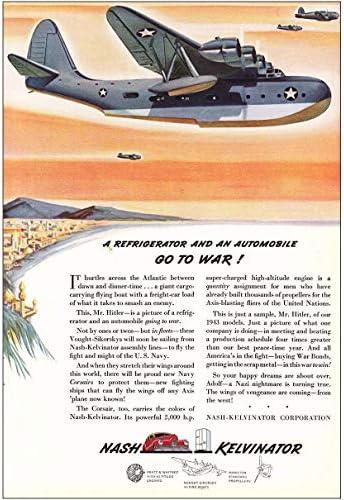 1942 Nash Kelvinator Refrigerator and Automobile Go To War Vintage Print Ad