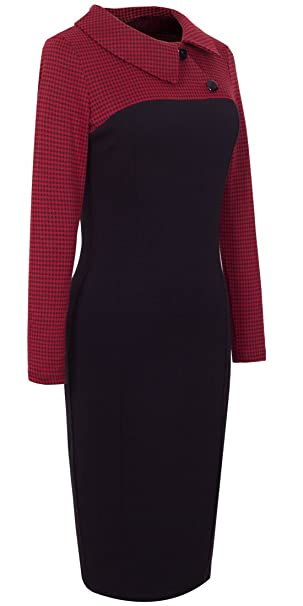 Rockabilly Dresses | Rockabilly Clothing | Viva Las Vegas HOMEYEE Womens Retro Chic Colorblock Lapel Career Tunic Dress B238 $29.99 AT vintagedancer.com