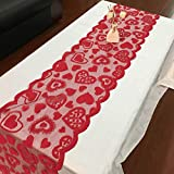 Kasien Valentine's Day Lace Table Runner Perfect for Wedding Party Valentines Decorations Table Clot