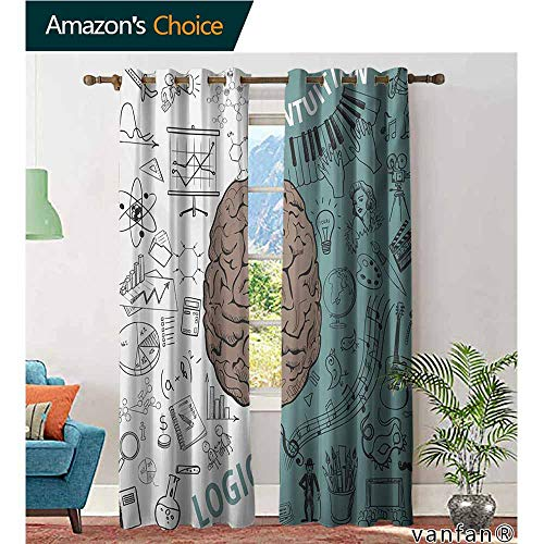 (Big datastore Easy Care Privacy Protection Grommet Window Panels,ModernBrain Image with Left and Right Side Music Logic Artwork Side Science Print,2 Pieces,White Teal Umber,W120 xL108)