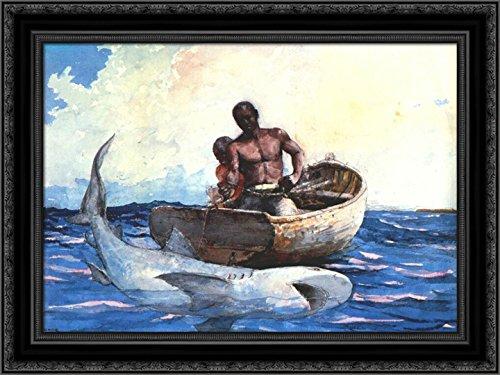 Shark Fishing 24x18 Black Ornate Wood Framed Canvas Art by Winslow Homer