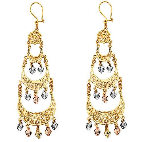 14K Yellow Rose White Gold Diamond-Cut Chandelier Hanging Earrings (73mm x 24mm)