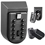WDTC Wall Mounted Key Lock Box,10-Digit Push Button Combination,Great Combination Lock Box Home Or Office — Exterior Waterproof Cover and Mounting Kit