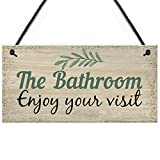Meijiafei Bathroom Toilet Loo Welcome Shabby Chic Novelty Sign Novelty Wall Door Plaque Home Decor Gifts 10' X 5'