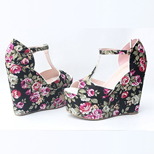 Black Sandals Wedge Peep fereshte Strap Platform Print Ankle Floral T Women's Toe TUqpfP