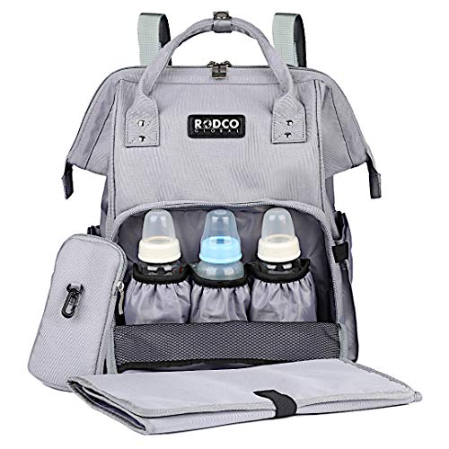 Baby Diaper Bag Backpack, Rodco Global Multi-Function, Durable, Waterproof Diaper Organizer Maternity Bag with Changing Pad, Stroller Straps for Mom and Dad, Grey