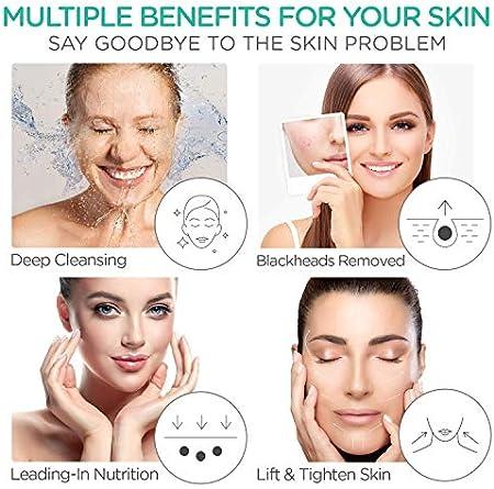 VOYOR limpiador ultrasónico facial, limpiador de poros limpiador peeling facial Facial Removedor de Acné, con 3 modos, extractor de acné comedones CP100 (Pink)