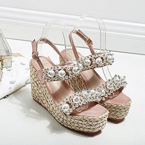sandali 11cm rosa GTVERNH donna perle pendenza resistente all'acqua alti tacchi 37 scarpe da inferiore impermeabilizzanti zwxqI4CH