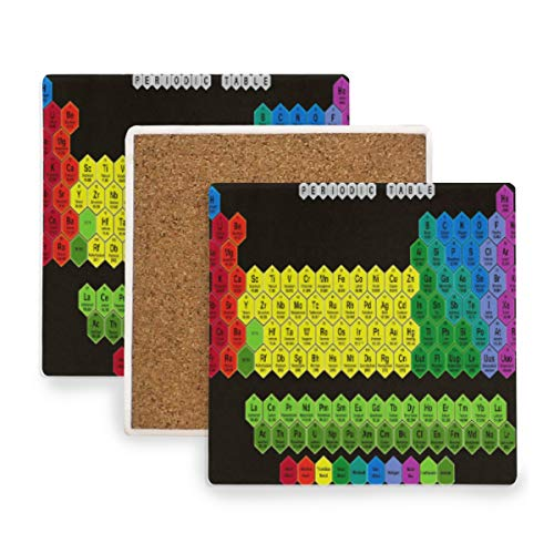 (Large Square Drink Coasters,Color Hexagon Periodic Table Ceramic Thirsty Stone With Cork Back Cup mats Protect Your Furniture From Spills, Scratches, Water Rings and Damage 2 pcs )