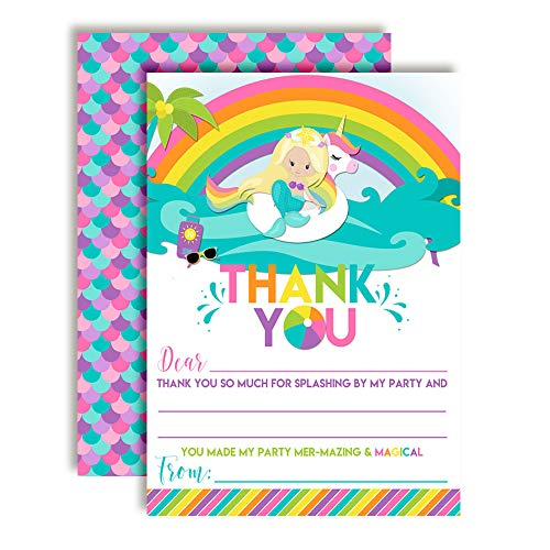 Blond Mermaid Unicorn Rainbow Pool Party-Themed Thank You Notes for Girls, Ten 4