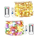 innotree LED String Lights, [2 Pack]33ft 100 LED USB Plug In Fairy Lights, 8 Modes Warm White & Multi-color Changing Copper Wire Lights with Remote &Timer, Twinkle String Lights for Bed Patio, Parties