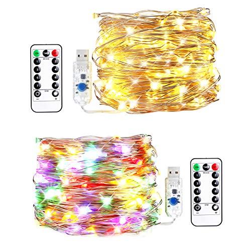 innotree LED String Lights, [2 Pack]33ft 100 LED USB Plug In Fairy Lights, 8 Modes Warm White & Multi-color Changing Copper Wire Lights with Remote &Timer, Twinkle String Lights for Bed Patio, Parties by innotree