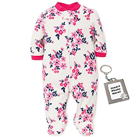Little Me Baby Girls Flower Blanket Sleeper Fleece Kids Footie Pajamas White 3M - Girls Pink Sleeper