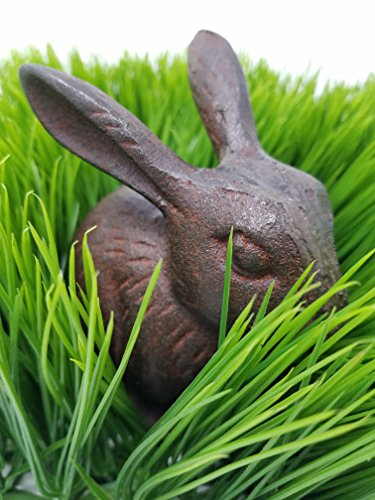 Lucky Rabbit Figurine Cast Iron Decorative Statue | Great for use as a Paperweight, Doorstop, or Decorative Figurine for your Garden