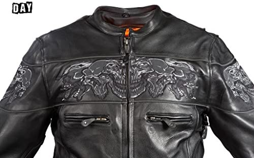 First Mfg Mens Maverick Leather Motorcycle Jacket S 8XL Tall