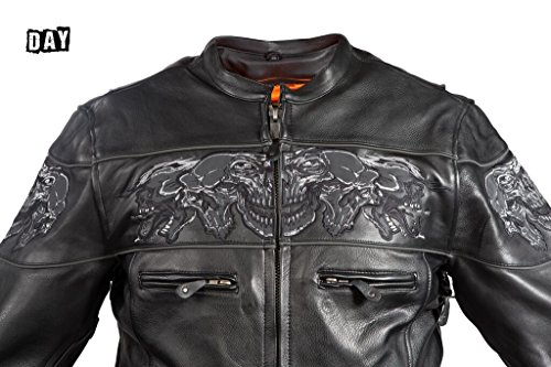 Dream Men's Motorcycle Riding Blk Reflective Skull Leather Jacket Big Sizes Upto 10xl (6XL Regular) by Dream (Image #7)'