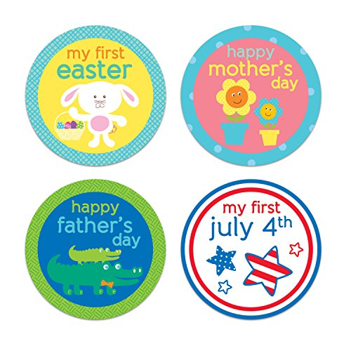 Tiny Ideas Baby's First Holiday Belly Stickers-Easter, Mother's Day, Father's Day, Fourth of July, Halloween, Thanksgiving, Christmas, Hanukkah, New Year, Valentine's Day, Grandparents Day -