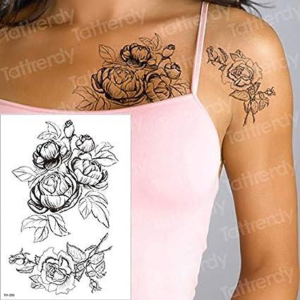 HXMAN 5 Unids Tatuaje Temporal Negro Flor Tatuaje Mangas De Agua ...