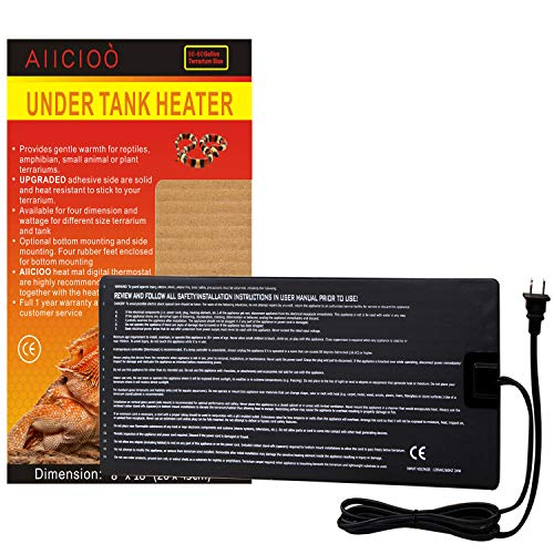 Aiicioo Reptile Heating Pad - Under Tank Heater 24 Watt Ideal for Hermit Crab -