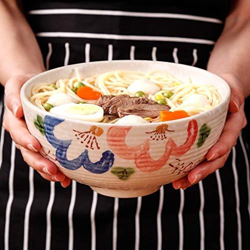 EXQUISITE Salad Bowl Pasta Bowl, Cutlery, Large Bowl, Fruit Salad Bowl, Thread, Ceramic, Noodle Bowl, Hand-painted, Ramen Bowl, Household, Ceramic Bowl, (capacity 1400ML / Caliber 18.5cm / Bowl ()