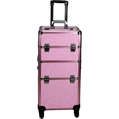 Hiker 4-Wheels Professional Rolling Aluminum Cosmetic Makeup Case & Easy-Slide & Extendable Trays with Dividers, Pink, 22 Pound by Hiker