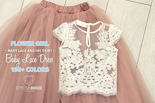 Flower Girl Tulle Lace Dress from Mary Lace, Baby Lace Top Cup Sleeve, Small Girl Tulle Dress, Flower Girl Tulle Skirt, Flower Girl Dresses