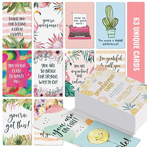 Motivational Cards - 63 Unique Inspirational Cards. Business Card Sized Encouragement Cards. Great Gifts for Employees, Thinking of You Gifts, Appreciation Cards, Kindness Cards, Lunch Box Notes