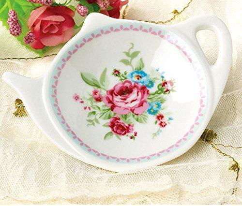 Spoon Rests; Classic Tea Saucer Seasoning Dish with Flower Trim Gold Rim RockTrend Vintage Rose White Porcelain Ceramic Teapot-Shaped Tea Bag Holder Tea Bag Coasters Flower B, 10 PCS