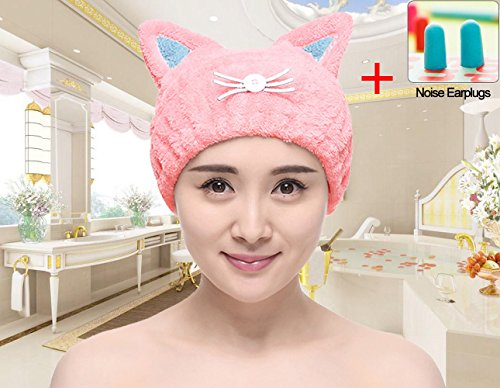 DS-Space Adjustable Microfiber Cute Cartoon Cat Hair Drying Cap Ultra Soft Absorbent Dry Hat Hair Wrap Towel, Reduce Hair Drying Time for Women Adults or Kids Girls (Pink)