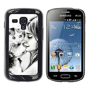 Caucho caso de Shell duro de la cubierta de accesorios de protección BY RAYDREAMMM - Samsung Galaxy S Duos S7562 - Cat Girl Friendshp Animal Drawing Pencil