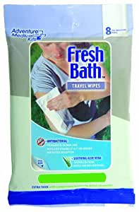 Tender Fresh Bath Wipes Travel Size, 8 Count Wipes
