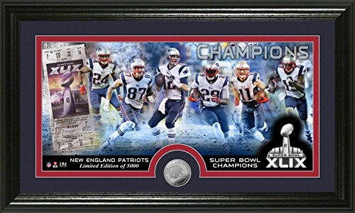 NFL New England Patriots Super Bowl XLIX Champions Minted Panoramic Photo Minted Coin, 21'' x 14'' x 3'', Black by The Highland Mint