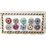 BLUE NIGHT Set of-10 Dotted Ceramic Cabinet Colorful Knobs Furniture Handle Drawer Pulls.