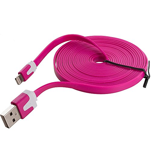 TechSpec Noodle USB Flat Sync Data Cable Cord 10FT - Hot Pin
