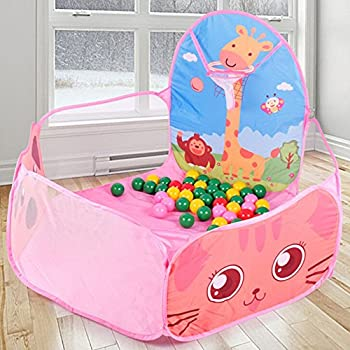 AutoLover Kids Play Tent Foldable Ocean Ball Pit Pool Indoor Outdoor Play House for Children Play Set Toy(PINK)