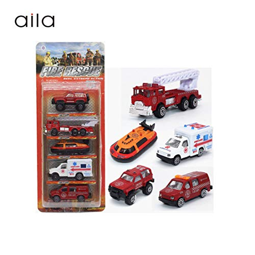 - 5 PCS Fire Engine Vehicles Truck Die Cast Alloy Mini Rescue Emergency Car Model Fire Truck Toy Playset for Boys Kids