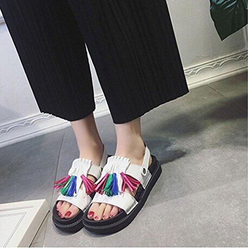 Tasainen Sandals Naisten Tupsu Transer® Naisten Kesäsandaalit Vapaa Valkoinen Kengät Mukavat 7AESqSw