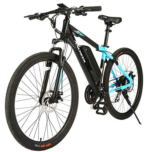 ANCHEER 2019 New 350W Electric Mountain Bike 26/27.5'' Electric Bicycle, Newest 20MPH Ebike with Removable 36V 10.4/7.8Ah Lithium-Ion Battery for Adults, Professional 24/21 Speed Gears