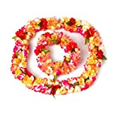 Tinksky Tropical Hawaiian Luau Flower Garland Necklace Headband Headpiece Set for Hawaii Lei Party Favors