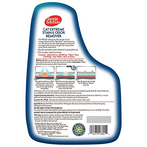 Simple Solution Cat Stain and Odor Remover With Pro-Bacteria and Enzyme Formula, Made in USA by Simple Solution (Image #2)