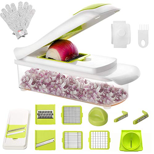 Vinipiak 9 in 1 Vegetable Chopper Mandoline Slicer Dicer for Onions Tomatoes and Bell Peppers Kitchen Manual Vegetable Spiral Slicer with Free Cut-Resistant Gloves (green)